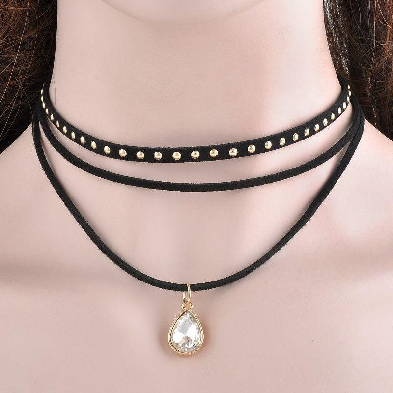 3 Layers Black Ribbon Chocker Necklace Women Fashion Jewelry Bib Necklace Collier-NECKLACES-SheSimplyShops