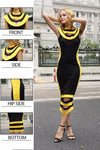 T-INSIDE New Arrived Women's Sexy Strapping and Bandage Sheath Dress Sleevless Color-Block 2 Color Club Party Dress-Dress-SheSimplyShops