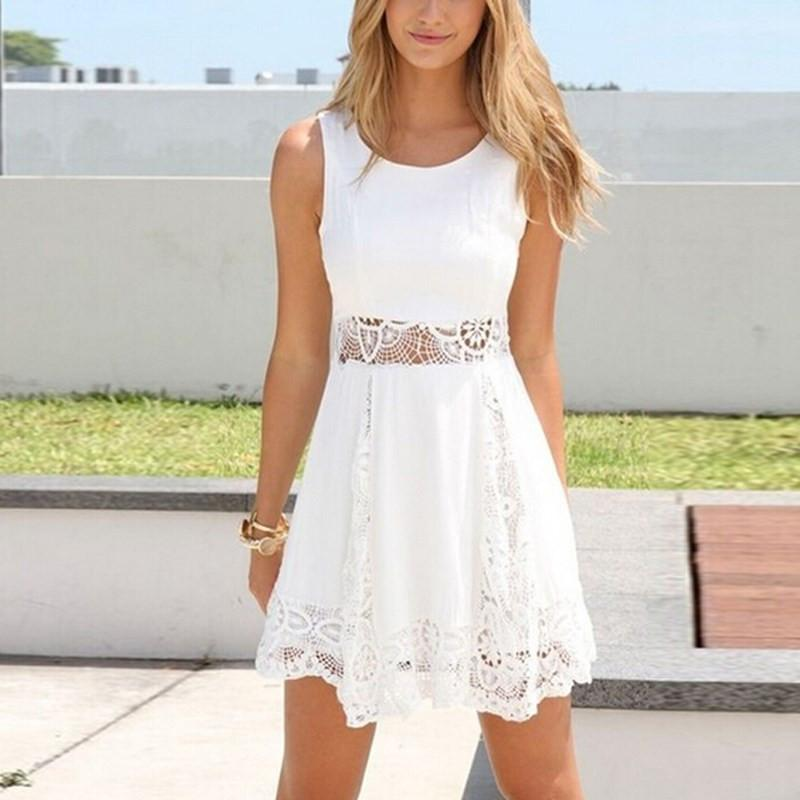 Zanzea Summer Style White Dress Women Casual Solid Lace Strapless Sexy A-line Short Mini Dresses Plus Size Vestidos-Dress-SheSimplyShops