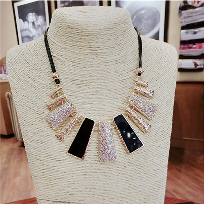 New Fashion Design Beads Enamel Bib Leather Braided Rope Chain Necklace-NECKLACES-SheSimplyShops