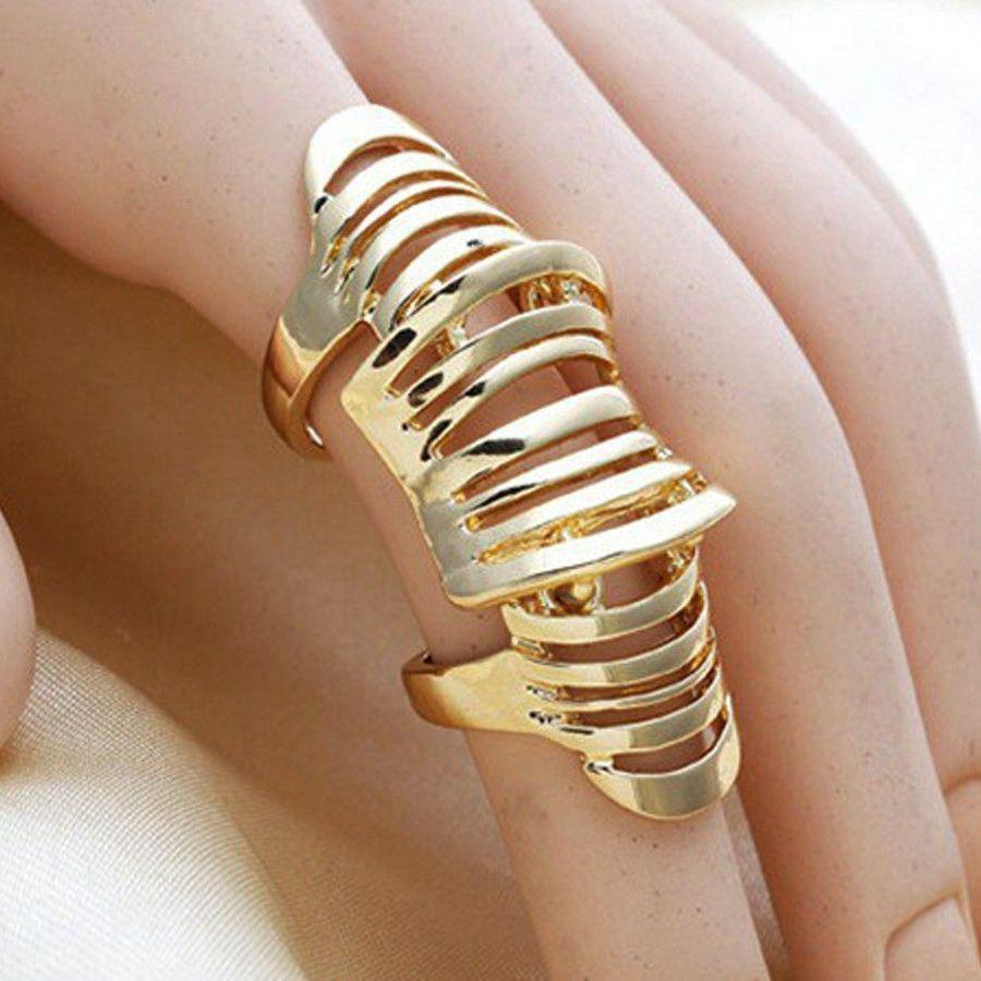 Brand Gold Silver hollow rings for women fashion jewelry punk Alloy Double loop ring men wedding party Accessories bijoux femme-JEWELRY-SheSimplyShops