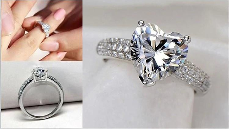 Heart Shape Diamond Crystal Plated Ring-Rings-SheSimplyShops