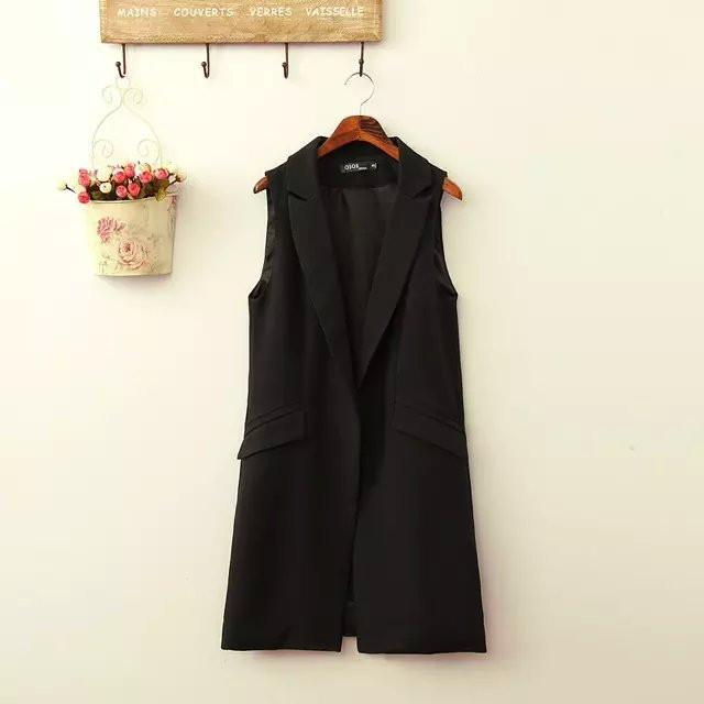 office lady Elegant jackets Vests For Women Sleeveless black Long Outerwear Casual brand coat-Coats & Jackets-SheSimplyShops