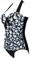 Stylish Strap Push Up Gothic Skull Print Beachwear-SWIMWEAR-SheSimplyShops