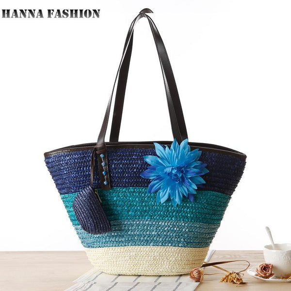 Knitted Straw Bohemian tote bag-BAG-SheSimplyShops