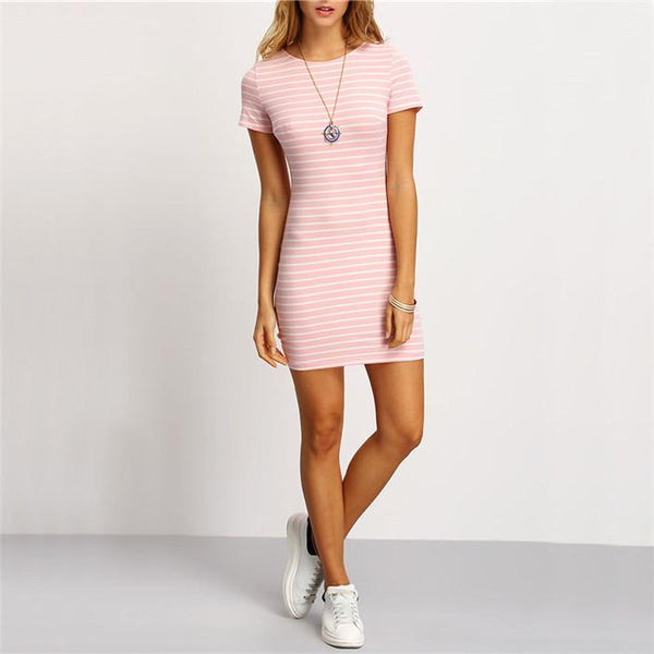 Pink Crew Neck Short Sleeve Striped Sheath Mini Dress-Dress-SheSimplyShops