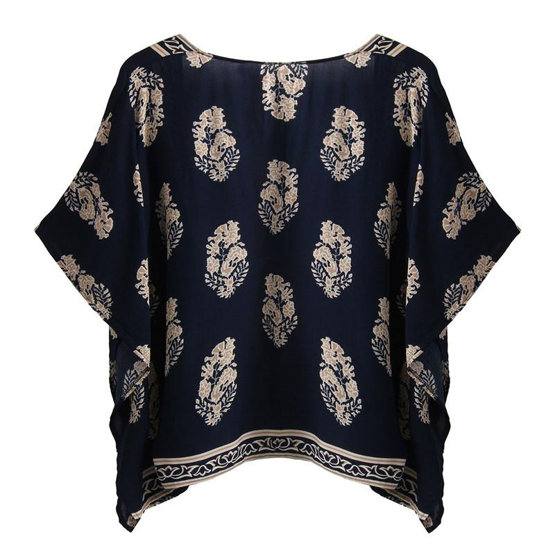 Hot Summer Style Blusas Women Vintage Casual Loose Batwing Sleeve Blouse Tops Printed Kimono Cardigan Plus Size-Blouse-SheSimplyShops