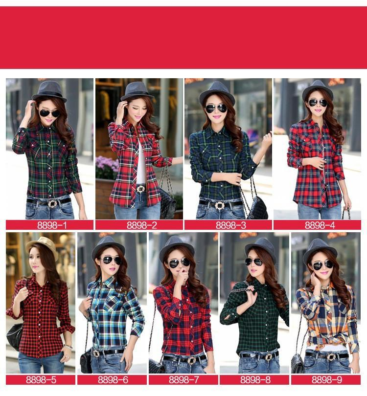 Hot New Women's Winter Blouses Casual Long Sleeve Plaid Flannel Shirt Flannel Tops Blusa Femininas M L XL XXL Winter Blouse-Blouse-SheSimplyShops