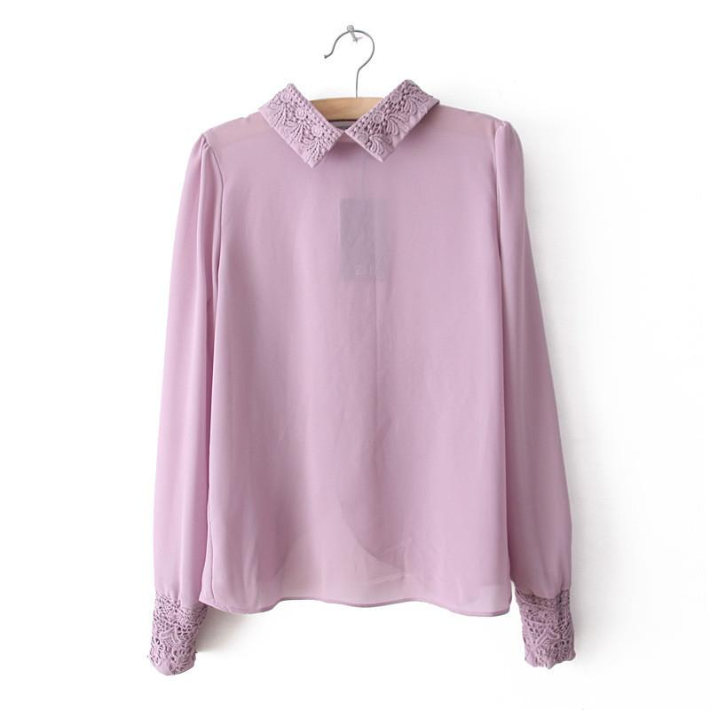 spring new retro vintage beaded embroidery collar angle hem violet lavender purple pink women chiffon blouse shirt top-Blouse-SheSimplyShops