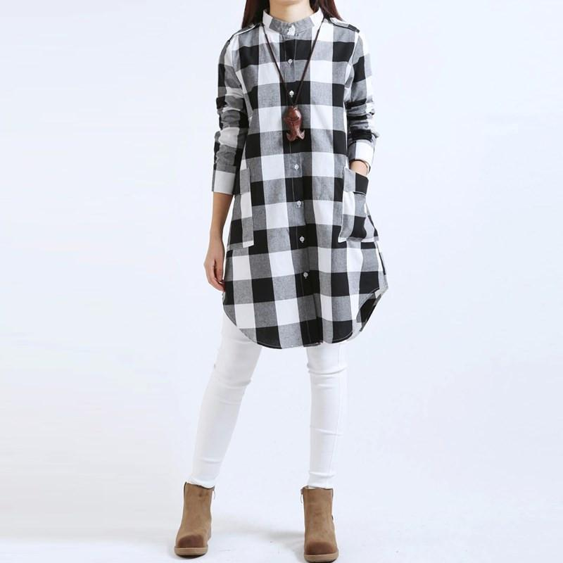 Hot Fashion Blusas Zanzea Autumn Women Plaid Shirts Blouses Long Casual Loose Vintage Dress Tops Plus Size M-XXL-Dress-SheSimplyShops