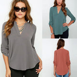 Long Sleeve, V Neck Chiffon Blouse-Clothing-SheSimplyShops