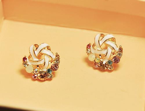 Elegant Rhinestone Stud Earrings-EARRINGS-SheSimplyShops