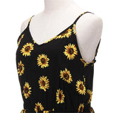Women Straps Sunflower Print Playsuit Casual Vintage Short Rompers Womens Jumpsuit-JUMPSUIT-SheSimplyShops