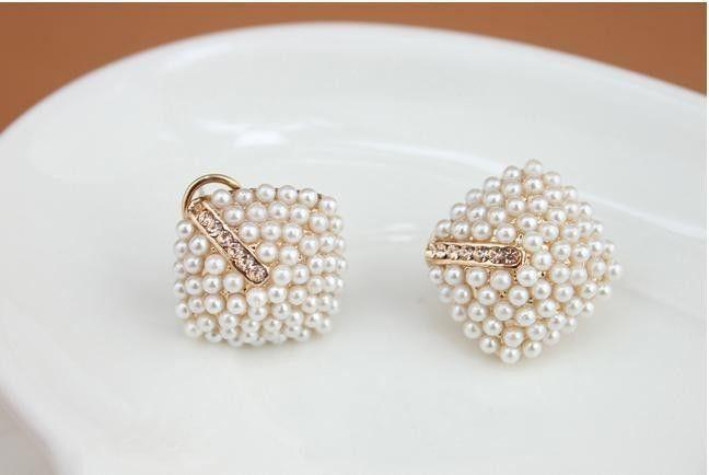 Beautiful Rhinestone Pearl Earrings-EARRINGS-SheSimplyShops