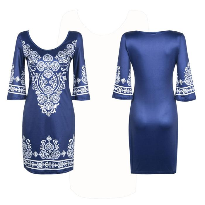 Fashion women Summer Ethnic style Sexy round collar Cashew flowers Paisley classical printing Elastic force dress-Dress-SheSimplyShops