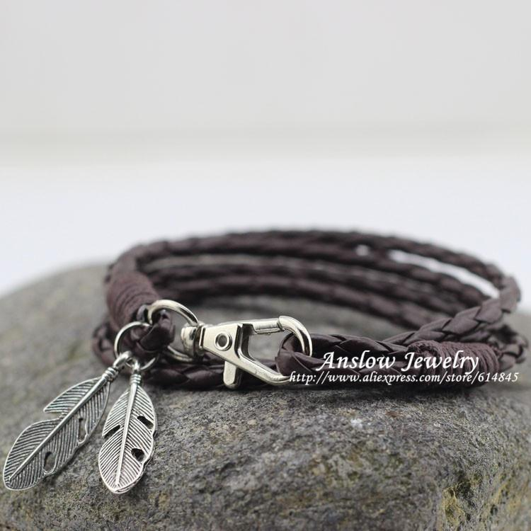 Fashion Jewelry PU Leather Charm Friendship Bracelets & Bangles Feather Accessories Wedding Men Jewelry Free Shipping-BRACELETS-SheSimplyShops