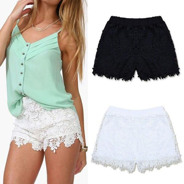 Women Sexy Lace Shorts 2016 Summer Fashion Cotton Floral Lace Crochet Mini Shorts Leisure Short Trousers Plus Size S-XXXL-SKIRTS-SheSimplyShops