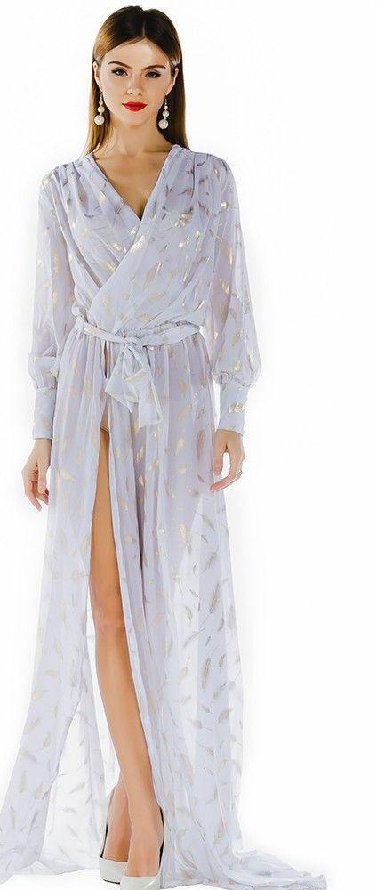 Sexy deep-V long-sleeved printing two split maxi dress-Dress-SheSimplyShops