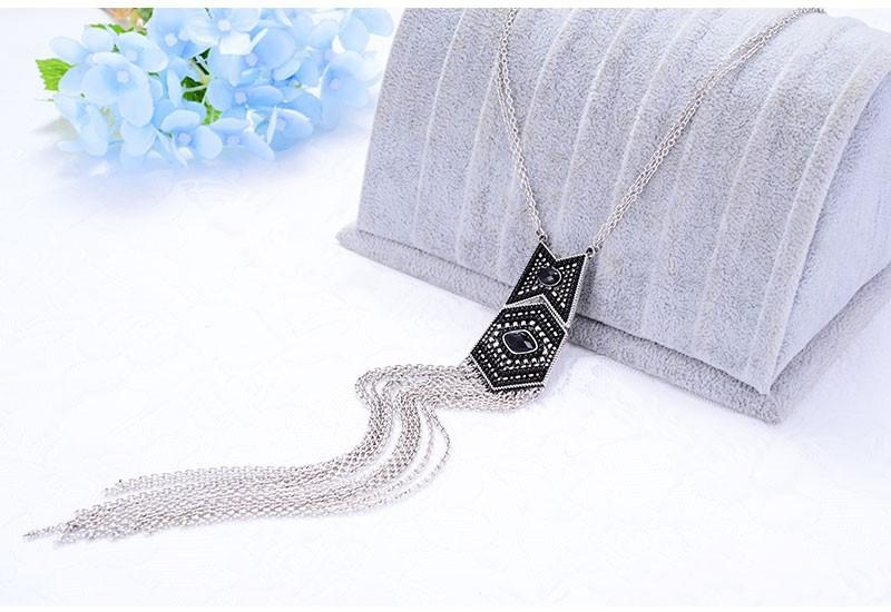 New Vintage Jewelry Women Antique Gold Silver Color Chain Ethnic Colorful Beads Long Tassel Pendant Necklace From Indian-Dress-SheSimplyShops
