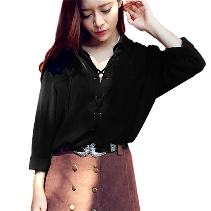 Turn Down Collar Front Lace Up Full Sleeve Sexy Summer Chiffon Shirt-SHIRTS-SheSimplyShops