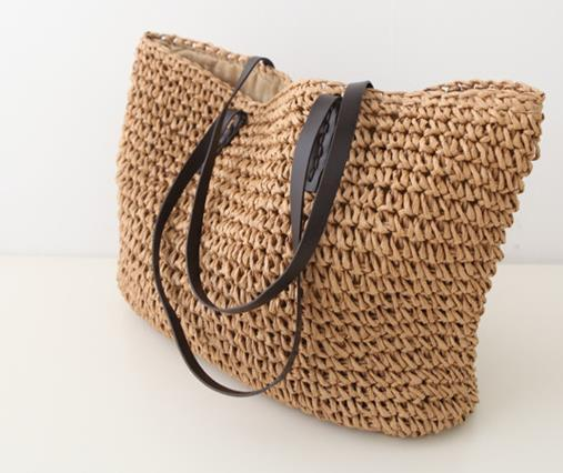 Hot fashion Simple hollow beach bags women straw bag vintage knitted big tote bags shoulder bags-BAGS-SheSimplyShops