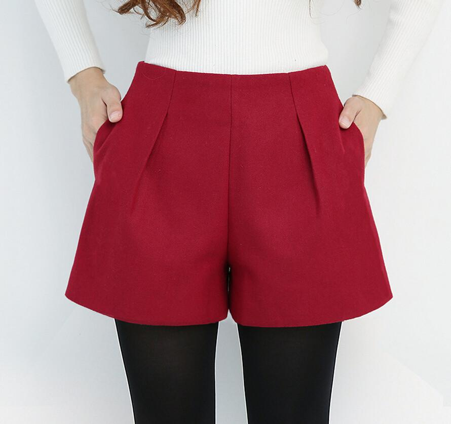 Stylish High Waist Wool Short-SKIRTS-SheSimplyShops