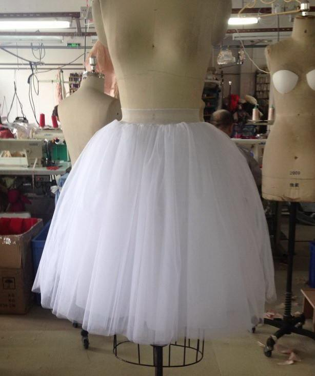 New Puff Women Chiffon Tulle Skirt White High waist Midi Knee Length Chiffon-Dress-SheSimplyShops