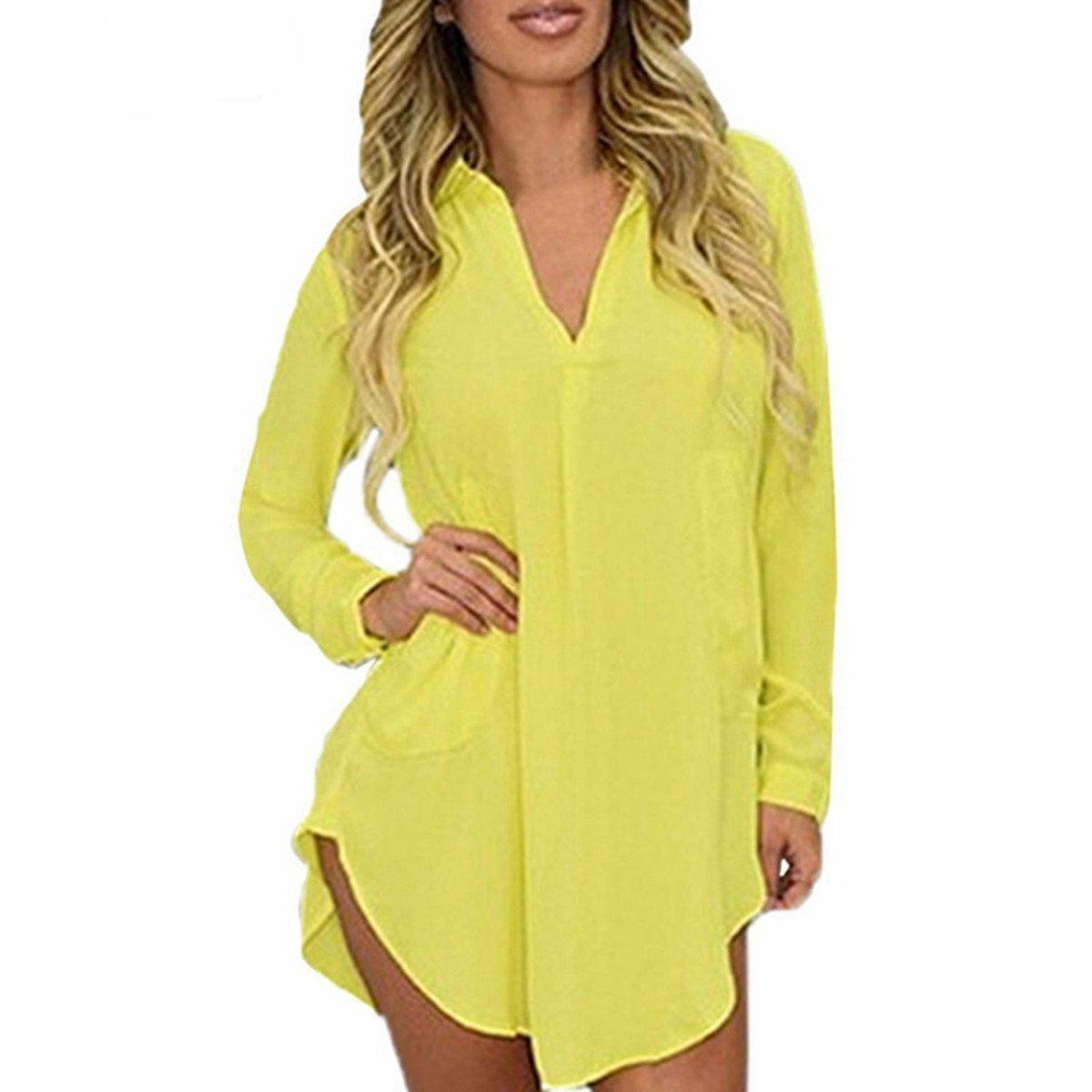 Casual Loose Long Sleeve Turn Down Collar Sexy Blouse-Dress-SheSimplyShops