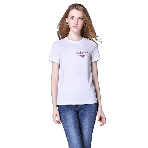 Summer Women T Shirt Brandy Melville Harajuku White T-Shirt Tops Cute But Psycho Print Funny Tees-Tops-SheSimplyShops