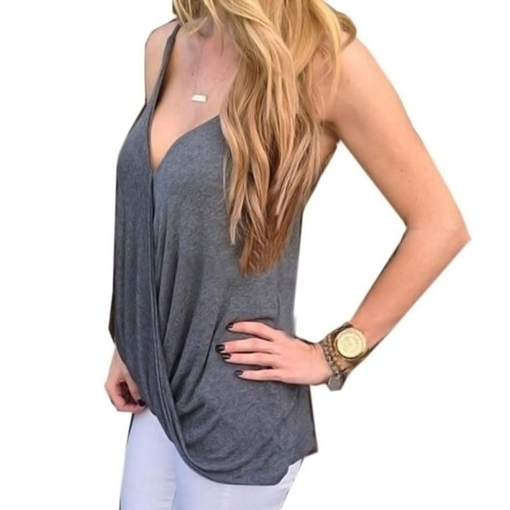 Sexy V-neck Tank Casual Sleeveless Blouse-Blouse-SheSimplyShops