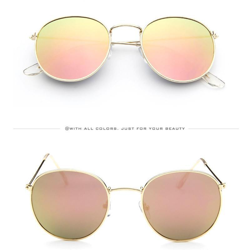 Vintage Round Sunglasses Women men female brand Metal Frames Mirror Lenses Sun Glasses For women retro-SUNGLASSES-SheSimplyShops