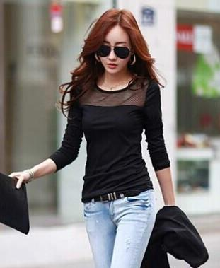 New fashion Women's Autumn Cotton Lace Mesh patchwork long sleeve T Shirts, Black Blue White 3 colors all-match tops tees-Tops-SheSimplyShops