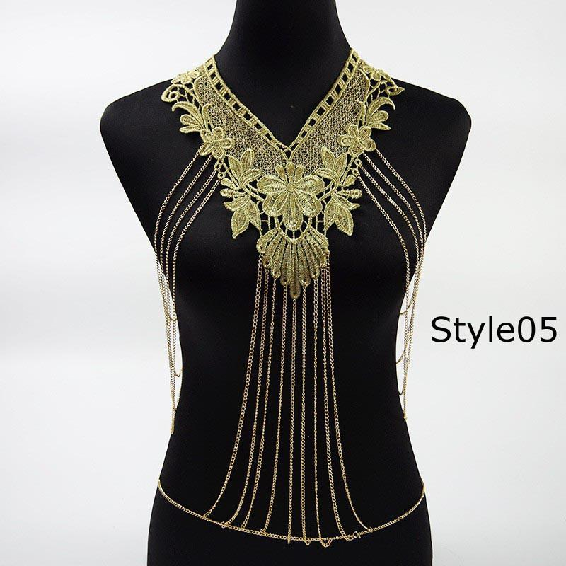 Lace Flower Collares Gold Body Chains Women Hollow out Big Gothic Necklace Multilayer chain Elegant Party Jewelry-NECKLACES-SheSimplyShops