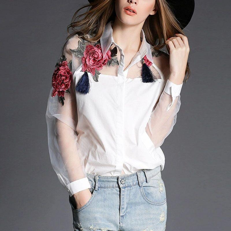 Summer Elegant Women Blouse Flower Embroidery Vintage Shirts Organza Sleeve Tops-Blouse-SheSimplyShops