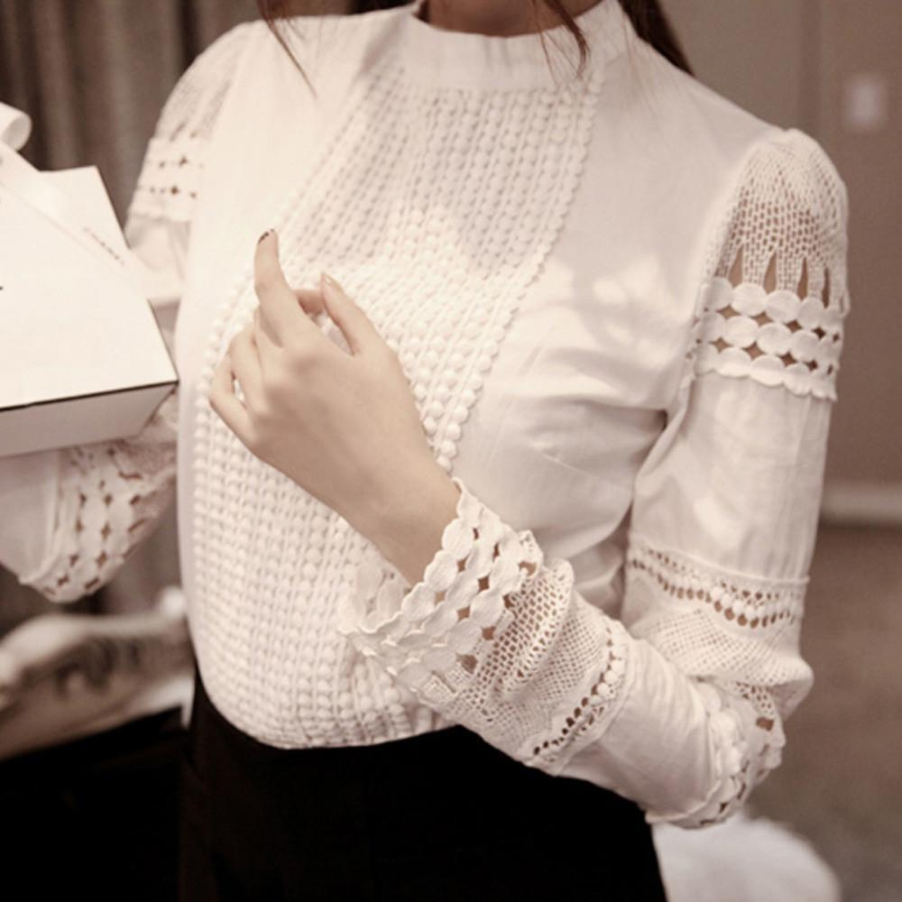 Women Blouse Slim Embroidery Long Sleeve Shirts Crochet White Cotton Blouse-Blouse-SheSimplyShops
