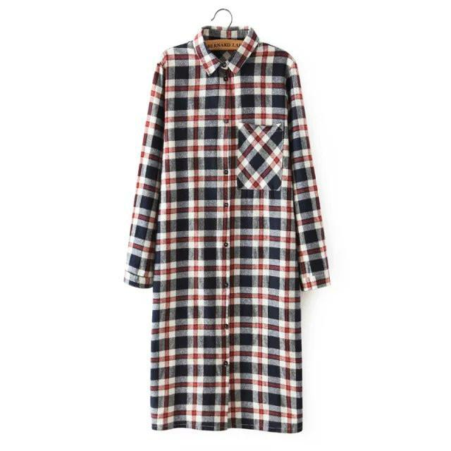 QB37 Women Shirt Dress Fashion Autumn Cotton Plaid Print Front back buttons pocket long Sleeve Turn-down Collar casual brand-Dress-SheSimplyShops