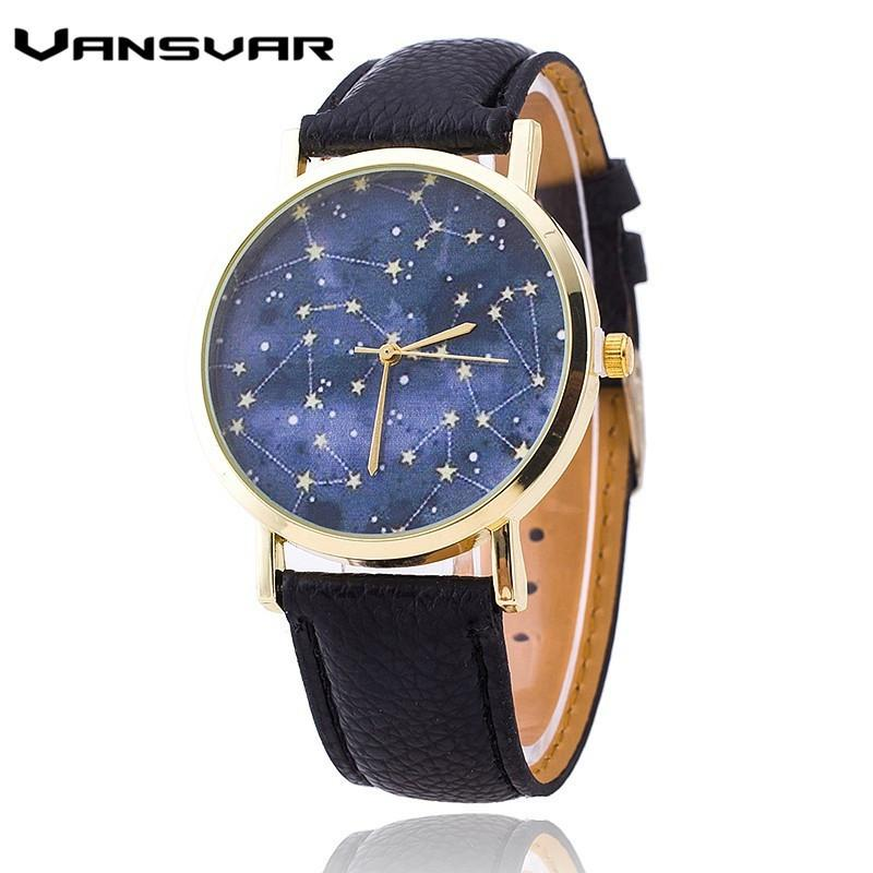 Fashion Stars Leather Quartz Watch Casual Women Constellations Wrist Watch-Dress-SheSimplyShops