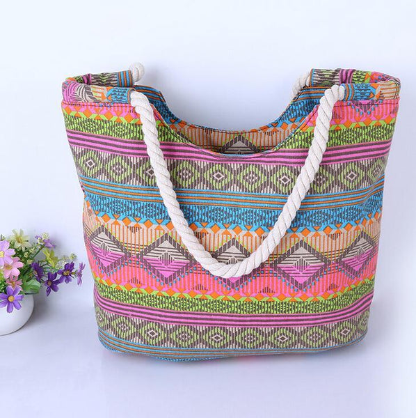 Fashion Summer Women Canvas Handbags Printing Tote Shopping Bags Large Female Beach Shoulder Bag-BAG-SheSimplyShops