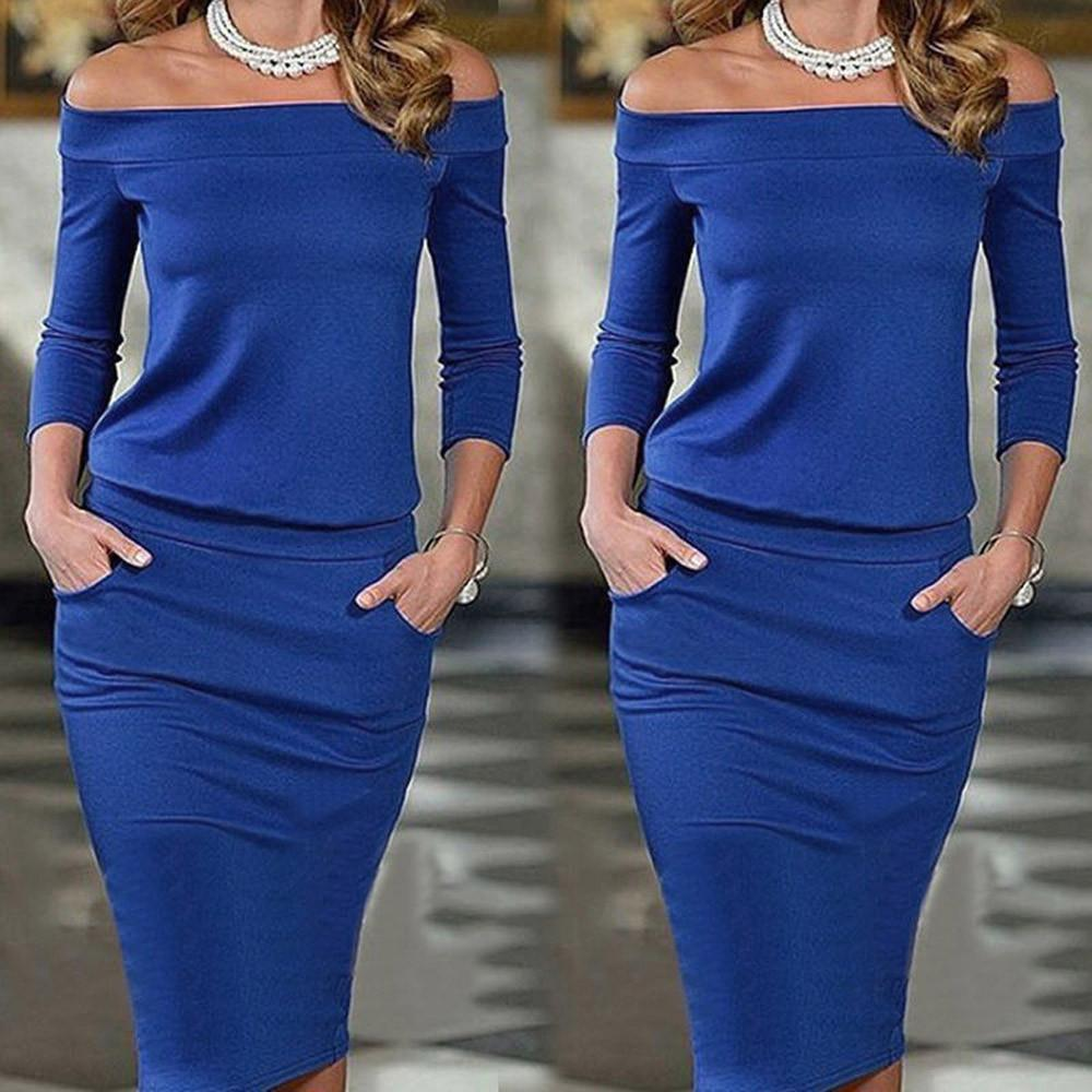 Off Shoulder Long Sleeve Sexy Club Party Bodycon Long Maxi Dress-Dress-SheSimplyShops
