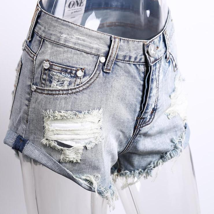 50's Vintage ripped hole fringe blue denim shorts women Casual pocket jeans shorts summer girl short-JEANS-SheSimplyShops
