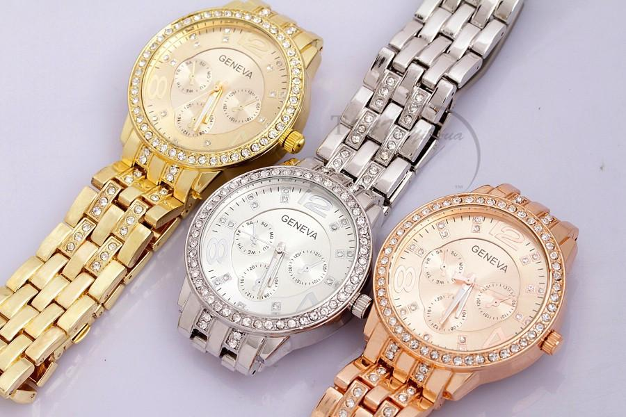 New Famous Brand Women Gold Geneva Stainless Steel Quartz Watch Military Crystal Casual Analog Watches-BRACELETS-SheSimplyShops