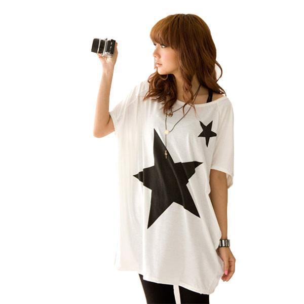 New Summer Oversized Baggy Brand Tops For Women Star Patterns Loose Short Sleeve Tee T-shirt-SHIRTS-SheSimplyShops