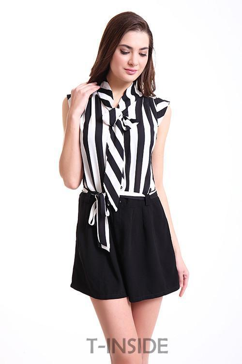 T-INSIDE Women's Casual Sleeveless Jumpsuit Overall Bodysuit of Black and White Striped Blouse Top and Belted Shorts Daily Wear-ROMPERS & JUMPSUITS-SheSimplyShops