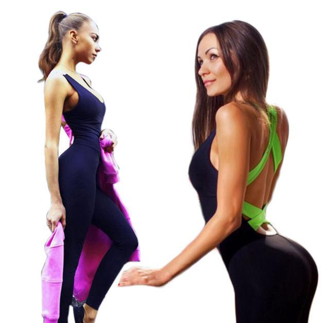 Jumpsuit Backless Sexy Sleeveless Bandage workout Sport Bodysuit Rompers-ACTIVEWEAR-SheSimplyShops