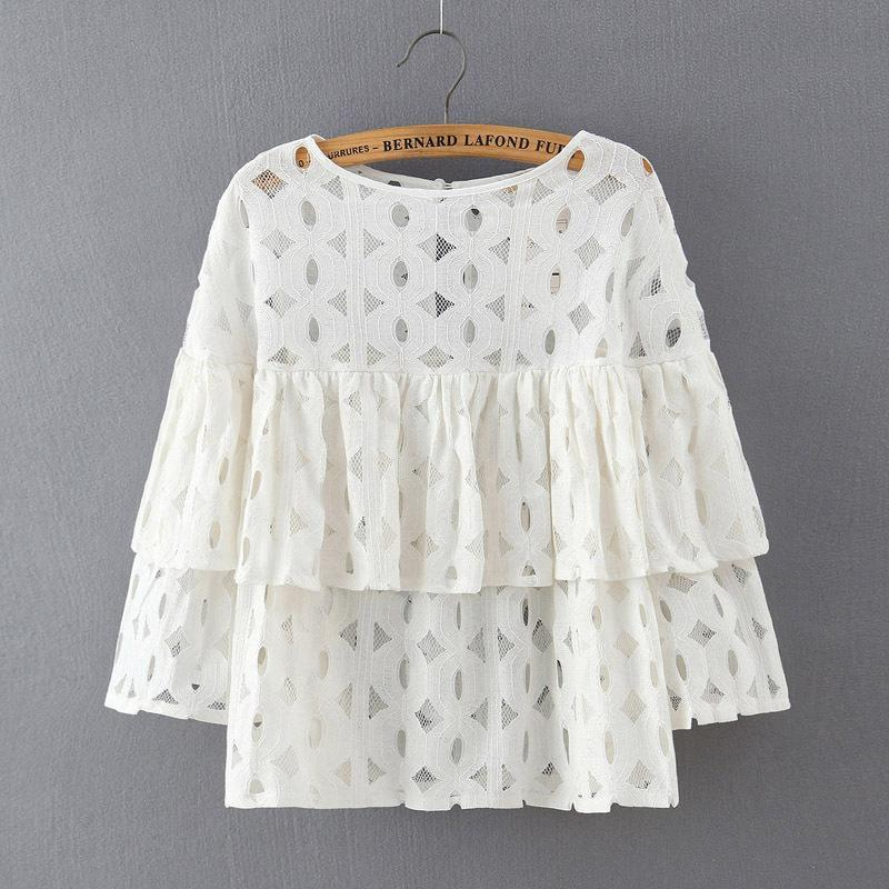 New Summer Plus Size Women Fashion Blouses Shirts o neck long sleeve lace hollow out solid loose ruffles blouse ladies tops-Blouse-SheSimplyShops