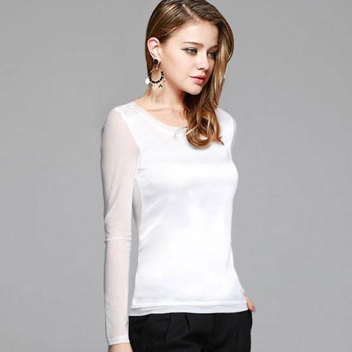 Women's shirts Blouses long sleeve formal chiffon blouses white black 9 clolor silk tops and tees slim-Blouse-SheSimplyShops