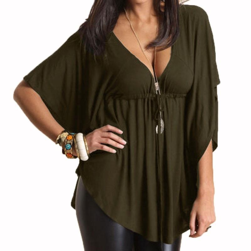 Sexy Casual Loose V-neck Batwing Sleeve Tops-Tops-SheSimplyShops