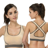 Cropped Feminino Women Crop Top Cropped Padded Bra Tank Top Athletic Vest Gym Fitness Sports Stretch Women's Tanks-SheSimplyShops