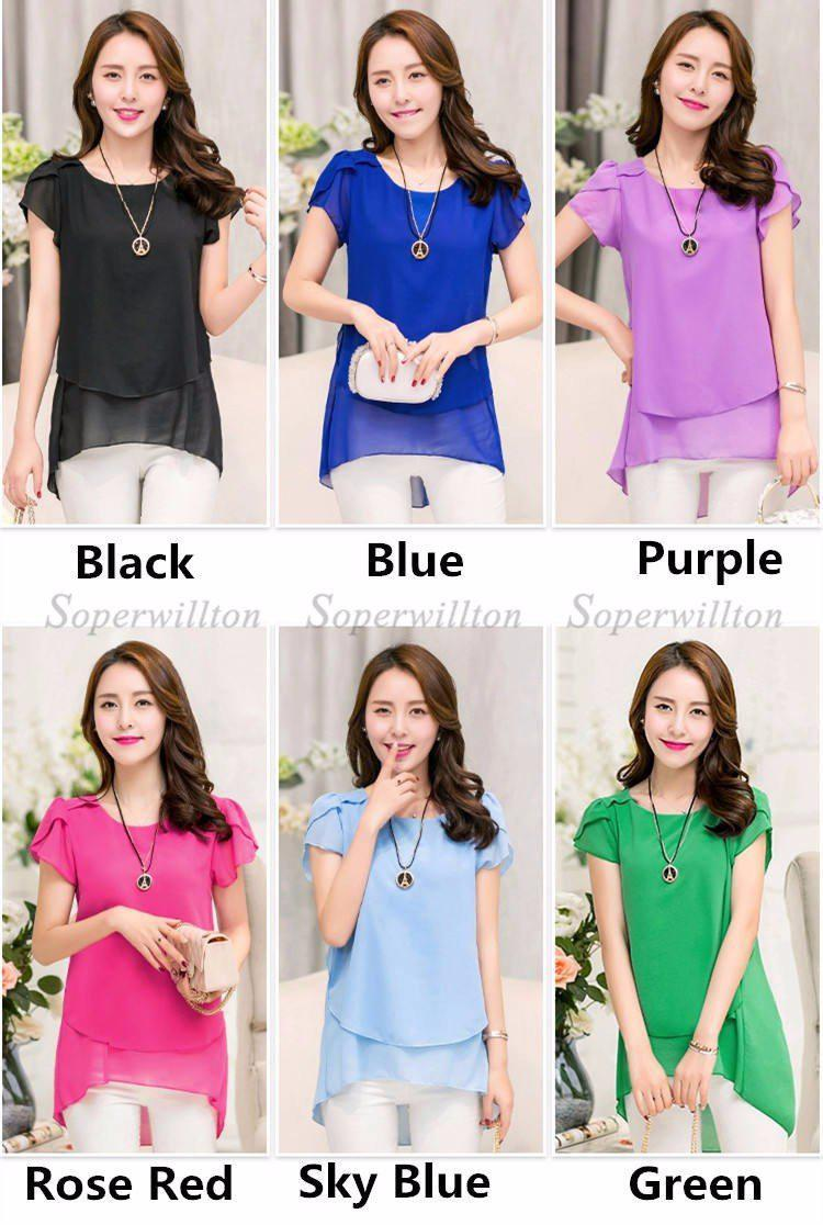 Loose Shirt O-Neck Chiffon Short Sleeve Plus Size Tops-SHIRTS-SheSimplyShops
