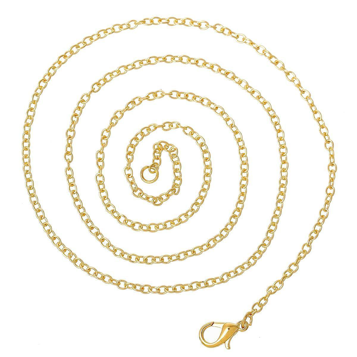 "Jewelry Necklace Oval Gold Plated Cable Chains Lobster Clasp 61cm(24"")long,1 Plate(Approx 12 PCs) 2015 new-NECKLACES-SheSimplyShops"